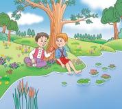 Bambini nella natura Illustrazione Vettoriale