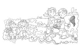 Bambini nello stagno con le rane, schizzi e schizzi e scarabocchi della matita illustrazione vettoriale