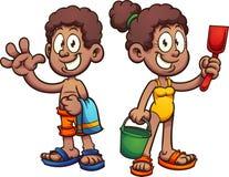 Bambini neri del fumetto con i costumi da bagno illustrazione vettoriale