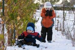 Bambini in neve Fotografia Stock