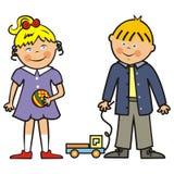 Bambini, ragazza, ragazzo e giocattoli felici, icona di vettore Fotografia Stock Libera da Diritti