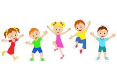 Bambini, ragazzi e ragazze saltanti e sorridenti illustrazione di stock