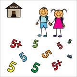 Bambini ragazzo e ragazza che vanno a scuola Fotografie Stock Libere da Diritti
