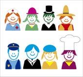 Bambini relativi delle icone di stile di occupazione Immagini Stock Libere da Diritti