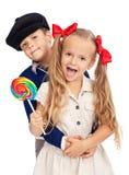 Bambini in retro attrezzatura Fotografie Stock