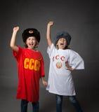 Bambini russi con il pugno chiuso fotografia stock libera da diritti