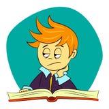 Bambini a scuola - il ragazzo sta ritenendo annoiato Immagini Stock
