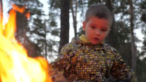 Bambini senza casa bambini dei rifugiati Dando fuoco a natura Flora e fauna che bruciano Natura in pericolo dovuto video d archivio