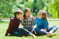 Bambini sorridenti divertendosi all'erba Bambini che giocano all'aperto di estate gli adolescenti comunicano all'aperto Immagine Stock Libera da Diritti