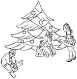 Bambini sotto l'albero di Natale Immagine Stock Libera da Diritti