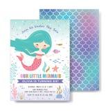 Bambini sotto la carta dell'invito della festa di compleanno del mare royalty illustrazione gratis