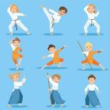 Bambini su pratica di arti marziali illustrazione vettoriale