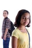 Bambini su priorità bassa bianca Immagine Stock Libera da Diritti