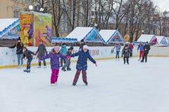 Bambini sul ghiaccio Fotografia Stock