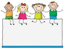 Bambini sul segno in bianco Fotografia Stock Libera da Diritti