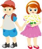 Bambini sulla camminata in estate Royalty Illustrazione gratis