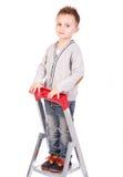 Bambini sulla cima sulla scala immagine stock