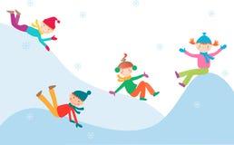 Bambini sulla collina ghiacciata Fotografia Stock Libera da Diritti
