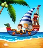 Bambini sulla nave con il pirata royalty illustrazione gratis