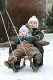 Bambini sulla slitta Fotografie Stock