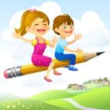 Bambini sulla Volo-Matita Fotografia Stock Libera da Diritti
