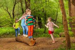 Bambini svegli che camminano sul ceppo dell'albero in parco fotografia stock libera da diritti