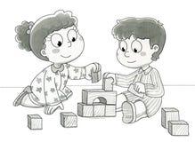 Bambini svegli che giocano - bw Fotografie Stock Libere da Diritti