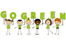 Bambini svegli con il messaggio di ecologia Immagine Stock