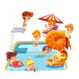 Bambini svegli del fumetto che giocano nella piscina Fotografia Stock