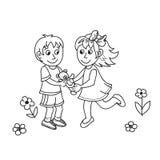Bambini svegli disegnati a mano con l'orsacchiotto illustrazione vettoriale