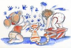 Bambini svegli sul lavoro Fotografie Stock