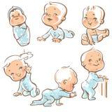Bambini svegli in vestiti blu Fotografia Stock