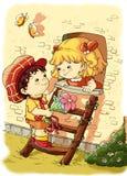 Bambini teneri, amore romantico Fotografie Stock Libere da Diritti