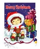 Bambini teneri, Buon Natale della cartolina Immagini Stock