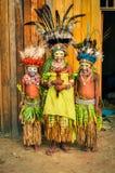 Bambini timidi in Papuasia Nuova Guinea Fotografie Stock