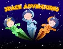 Bambini in tute spaziali che volano in uno spazio cosmico royalty illustrazione gratis