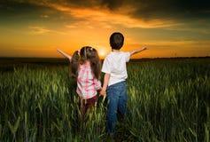 Bambini in un campo al tramonto immagine stock