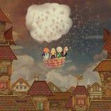 Bambini in un pallone su una radura royalty illustrazione gratis