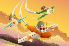 Bambini in una corsa dell'aeroplano Fotografia Stock Libera da Diritti