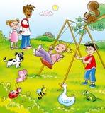 Bambini in una sosta Fotografia Stock