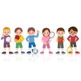 Bambini a vari sport Fotografie Stock Libere da Diritti