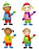 Bambini vestiti per l'inverno Fotografie Stock