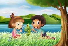 Bambini vicino al fiume con una lente d'ingrandimento royalty illustrazione gratis