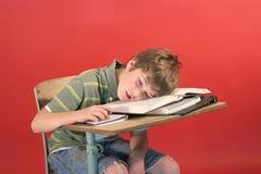 Bambino addormentato al suo scrittorio Fotografia Stock