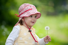 Bambino adorabile con il blowball Fotografia Stock