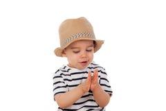 Bambino adorabile nove mesi con lo sguardo di estate Fotografia Stock Libera da Diritti