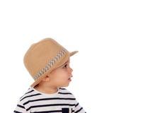 Bambino adorabile nove mesi con lo sguardo di estate Immagine Stock Libera da Diritti