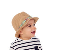 Bambino adorabile nove mesi con lo sguardo di estate Fotografia Stock