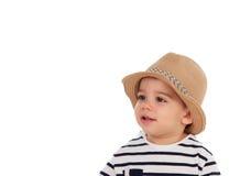 Bambino adorabile nove mesi con lo sguardo di estate Immagini Stock