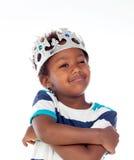 Bambino africano felice con la corona argentata Fotografia Stock